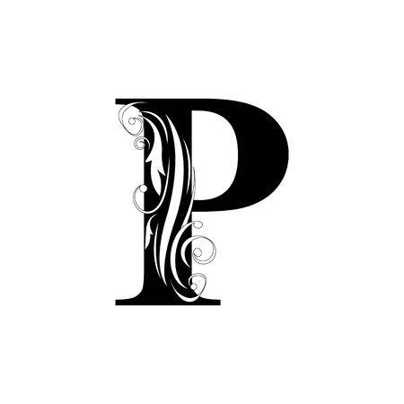 letter P Black letters.  flower   beautiful capital alphabet
