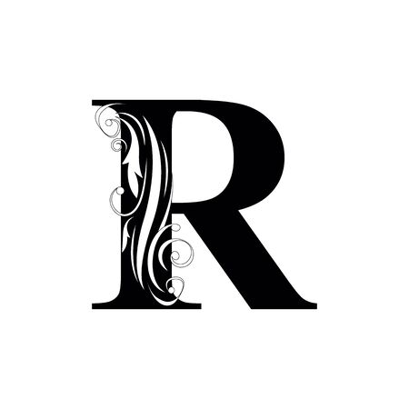 letter R Black letters.  flower   beautiful capital alphabet