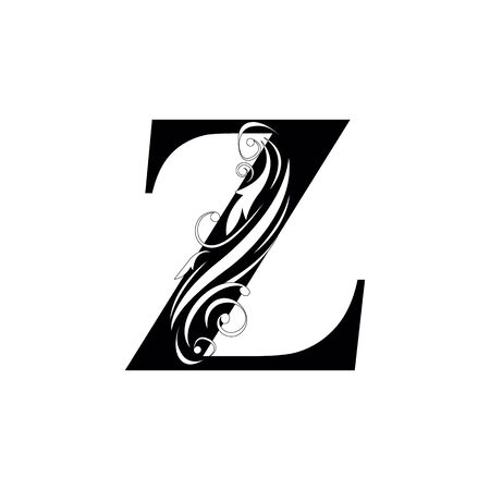 letter Z Black letters.  flower   beautiful capital alphabet