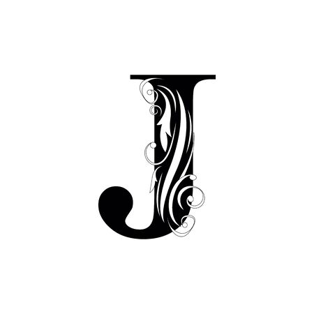 letter J Black letters.  flower   beautiful capital alphabet
