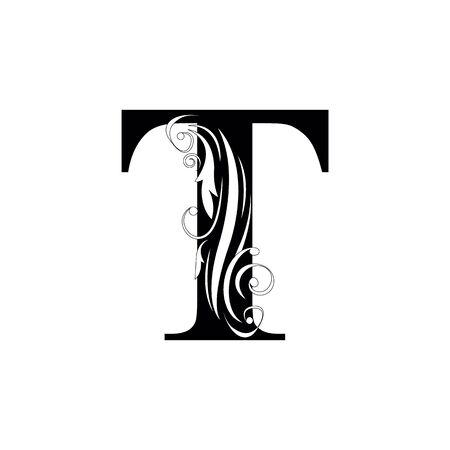 letter T Black letters. flower beautiful capital alphabet