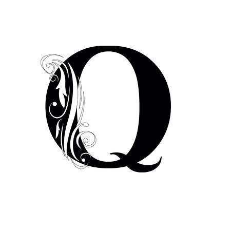 letter Q Black letters.  flower   beautiful capital alphabet