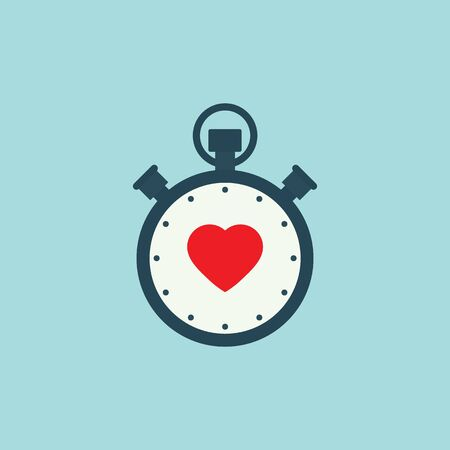 stopwatch flat vector with heart icon