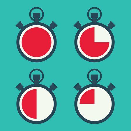 stopwatch flat vector set icon Ilustração