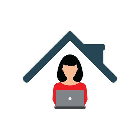 work at home stay home icon  sign lockdown icon quarantine