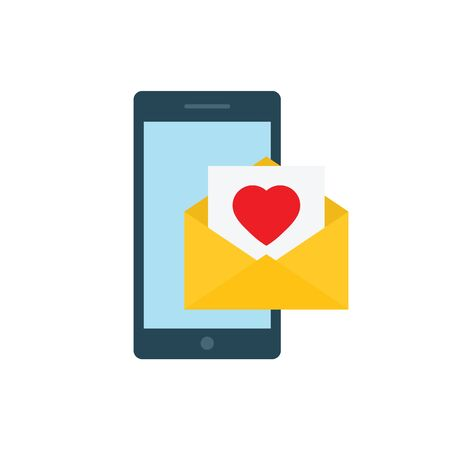 mobile phone flat vector envelope with heart flat vector. mail symbol love sign