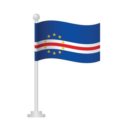 Cape Verde flag. National flag of Cape Verde on pole vector