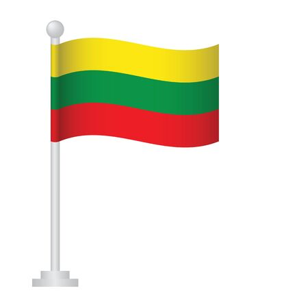 Lithuania  flag. National flag of Lithuania  on pole vector