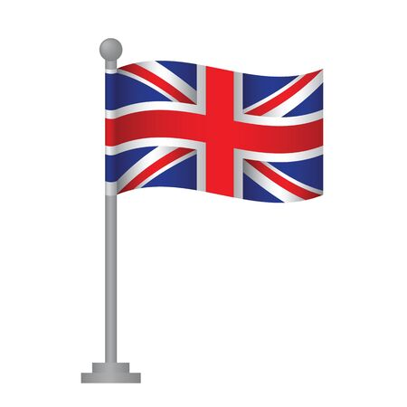 Great Britain flag. National flag of Great Britain on pole vector