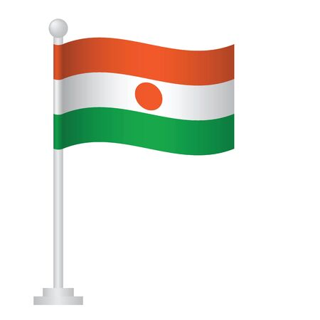 Niger flag. National flag of Niger on pole vector Ilustrace