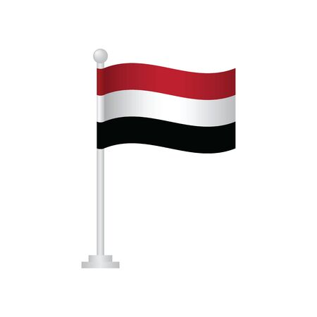 Yemen  flag. National flag of Yemen on pole vector