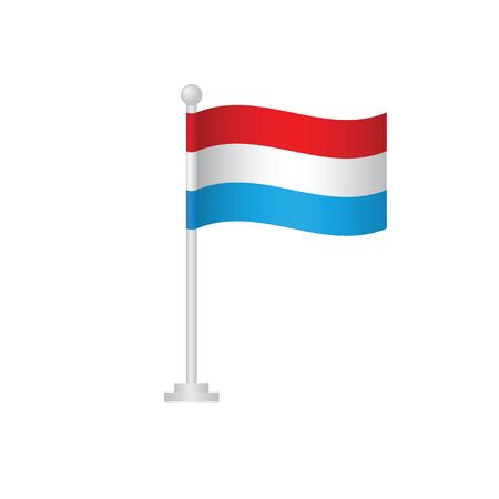 Luxembourg flag. National flag of Luxembourg on pole vector Ilustrace