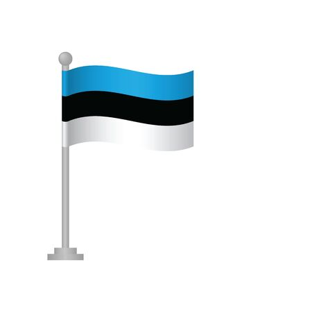 Estonia flag. National flag of Estonia on pole vector Ilustrace