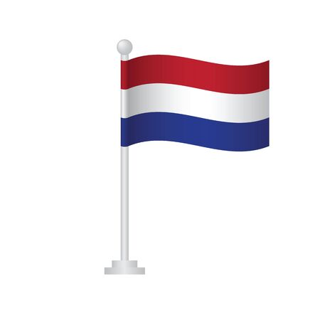 Netherlands  flag. National flag of Netherlands  on pole vector Ilustrace