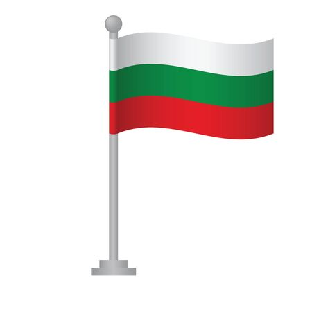 Bulgaria flag. National flag of Bulgaria on pole vector Ilustrace