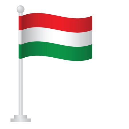Hungary flag. National flag of Hungary on pole vector