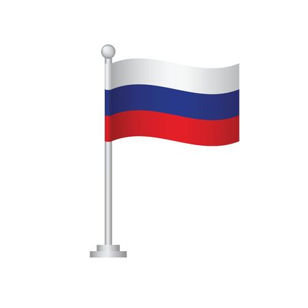 Russian flag. National flag of Russian on pole vector