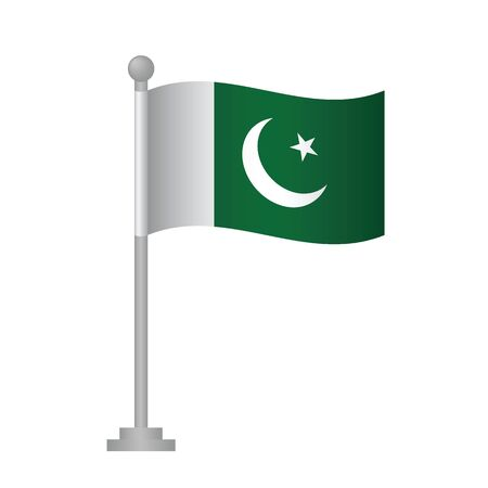 Pakistan  flag. National flag of Pakistan   on pole vector