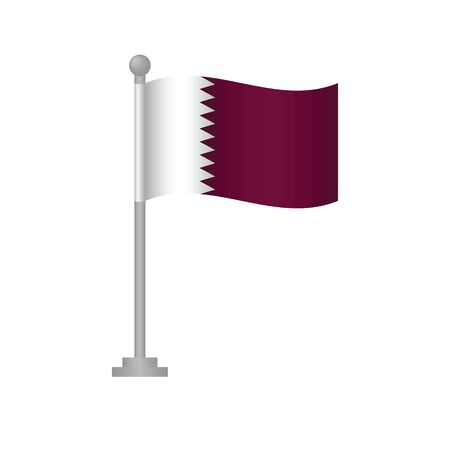 Qatar  flag. National flag of Qatar  on pole vector