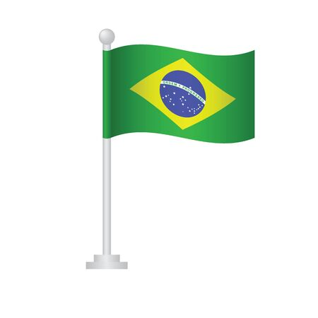 Brazil flag. National flag of Brazil on pole vector