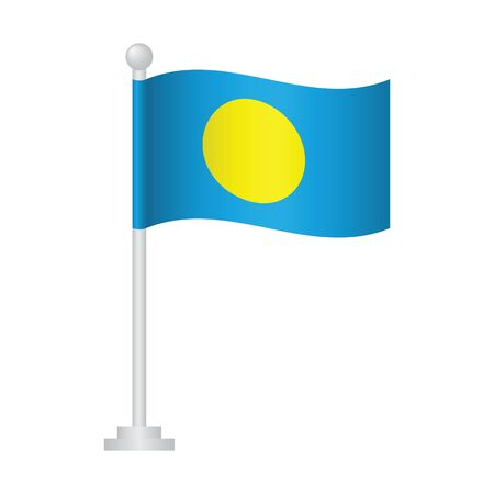 Palau  flag. National flag of Palau on pole vector