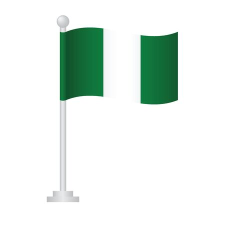 Nigeria  flag. National flag of Nigeria  on pole vector