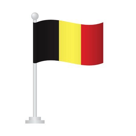 Belgian  flag. National flag of Belgian  on pole vector