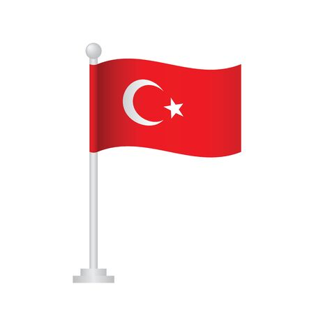Turkey  flag. National flag of Turkey  on pole vector