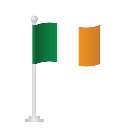 Ireland flag. National flag of Ireland on pole vector Ilustrace