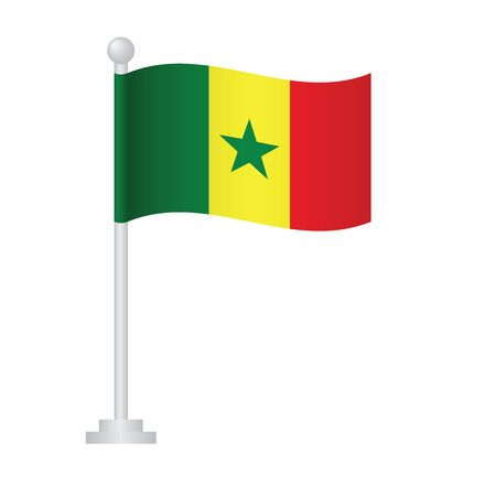Senegal  flag. National flag of Senegal on pole vector