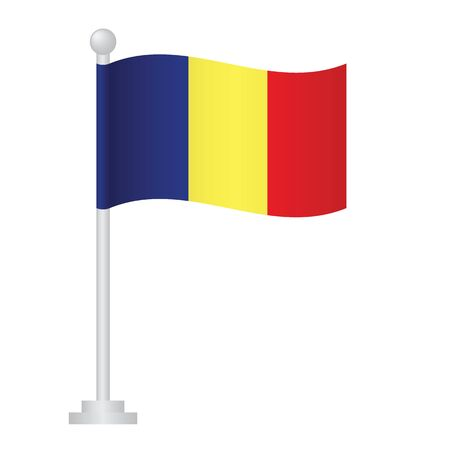 Chad flag. National flag of Chad   on pole vector