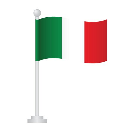 Italy flag. National flag of Italy on pole vector
