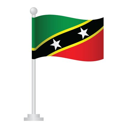 Saint Kitts and Nevis flag. National flag of Saint Kitts and Nevis on pole vector