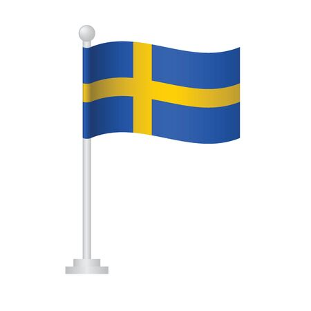 Sweden  flag. National flag of Sweden  on pole vector