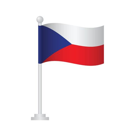 Czech    flag. National flag of Czech   on pole vector