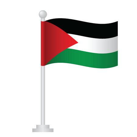 Palestine flag. National flag of Palestine on pole vector