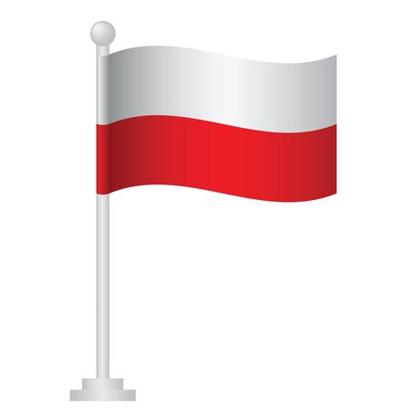 Poland flag. National flag of Poland on pole vector