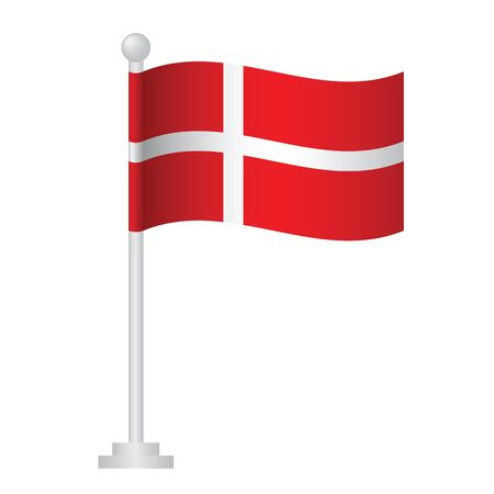 Denmark  flag. National flag of Danish on pole vector Ilustrace
