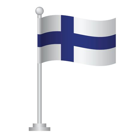 Finland  flag. National flag of Finland on pole vector Ilustrace