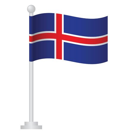 Iceland flag. National flag of Iceland on pole vector