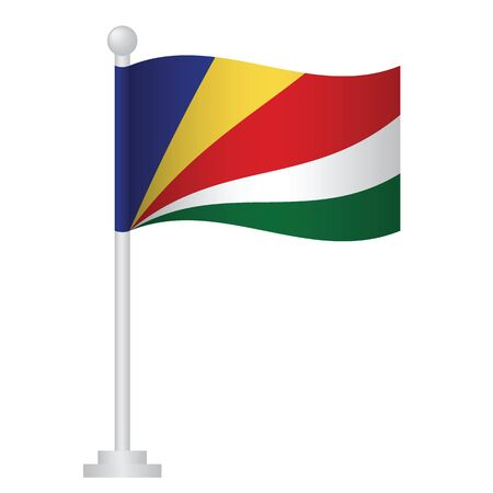 Seychelles flag. National flag of Seychelles on pole vector