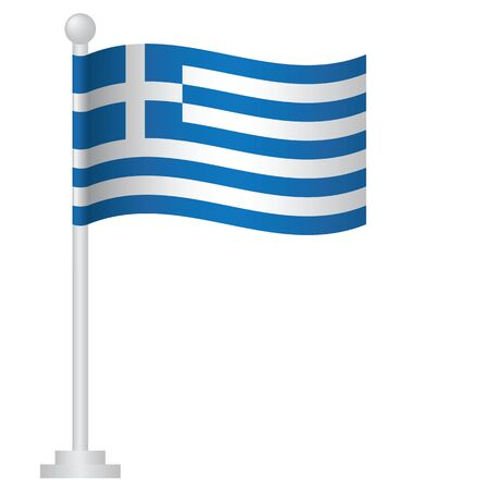 Greece  flag. National flag of Greece on pole vector
