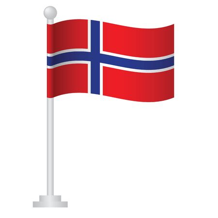 Norway  flag. National flag of Norway on pole vector