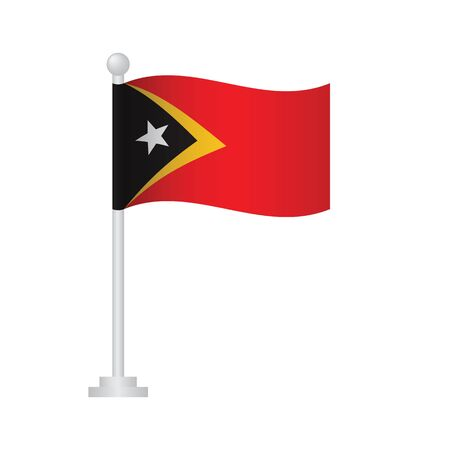 East Timor flag. National flag of East Timor on pole vector