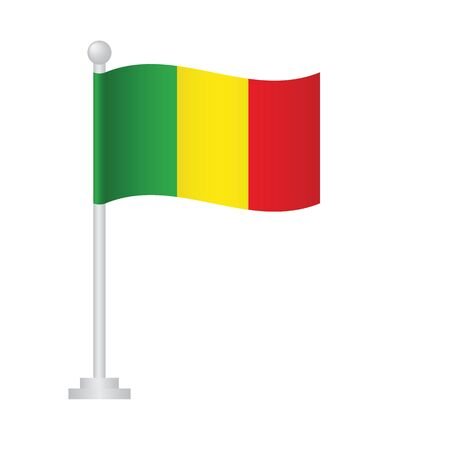 Guinea  flag. National flag of Guinea on pole vector Ilustrace