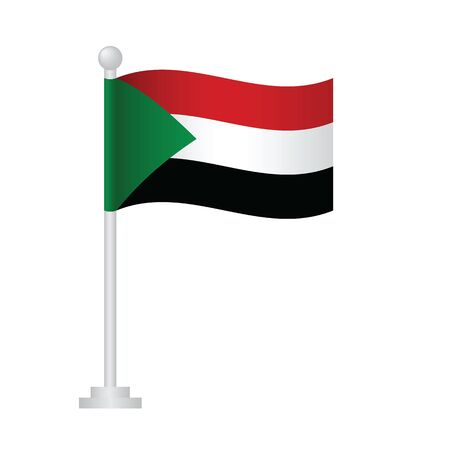 Sudan flag. National flag of Sudan on pole vector