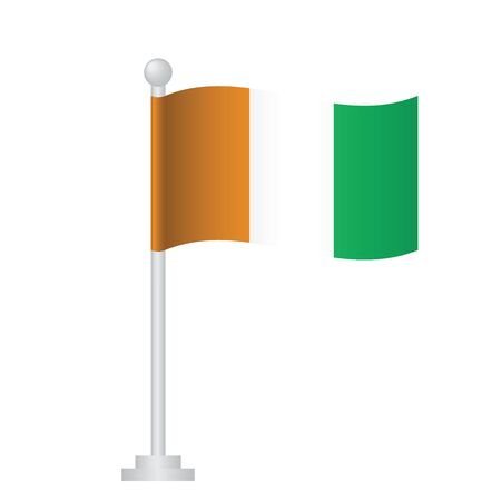 cote d'ivoire (ivory coast) flag. National flag of cote d'ivoire (ivory coast) on pole vector