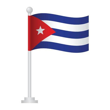 Cuba flag. National flag of Cuba on pole vector