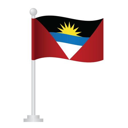 Antigua and Barbuda flag. National flag of Antigua and Barbuda on pole vector