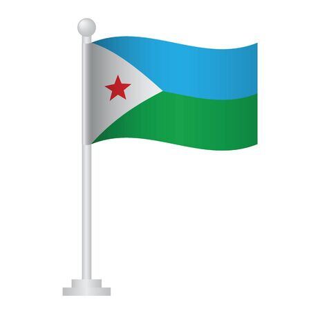 Djibouti flag. National flag of Djibouti on pole vector